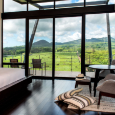 view of the landscape from inside the pikaia lodge bedroom