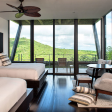 view of the outside landscape from inside a pikaia lodge bedroom
